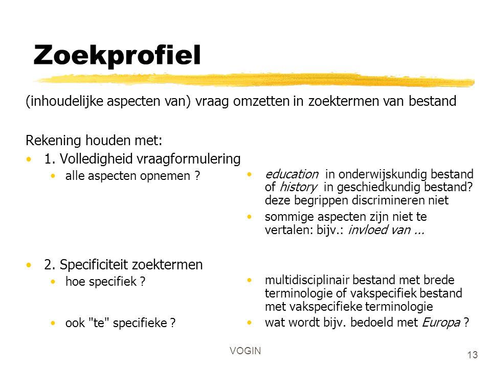 VOGIN Zoekprofiel Rekening houden met: 1. Volledigheid vraagformulering alle aspecten opnemen ? 2. Specificiteit zoektermen hoe specifiek ? ook