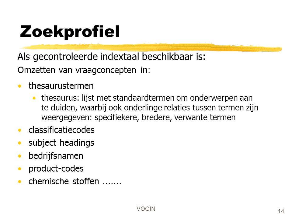 VOGIN Zoekprofiel Als gecontroleerde indextaal beschikbaar is: Omzetten van vraagconcepten in: thesaurustermen thesaurus: lijst met standaardtermen om