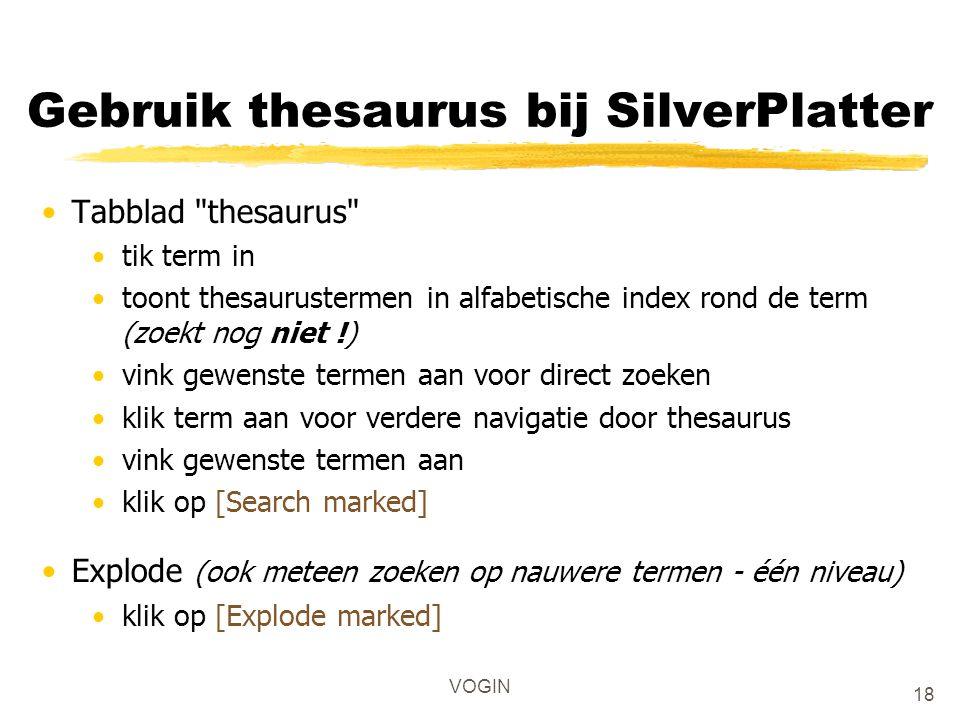 Gebruik thesaurus bij SilverPlatter Tabblad