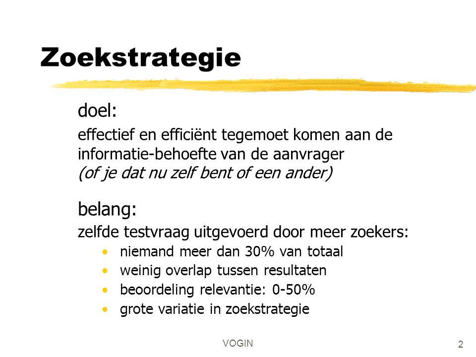 VOGIN Zoekstrategie doel: effectief en efficiënt tegemoet komen aan de informatie-behoefte van de aanvrager (of je dat nu zelf bent of een ander) bela