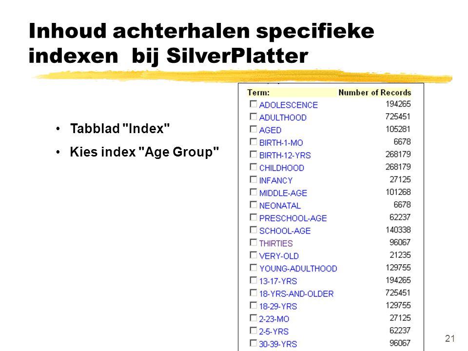 Inhoud achterhalen specifieke indexen bij SilverPlatter Tabblad