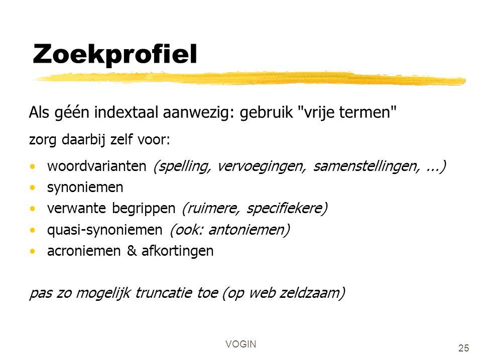 VOGIN Zoekprofiel Als géén indextaal aanwezig: gebruik