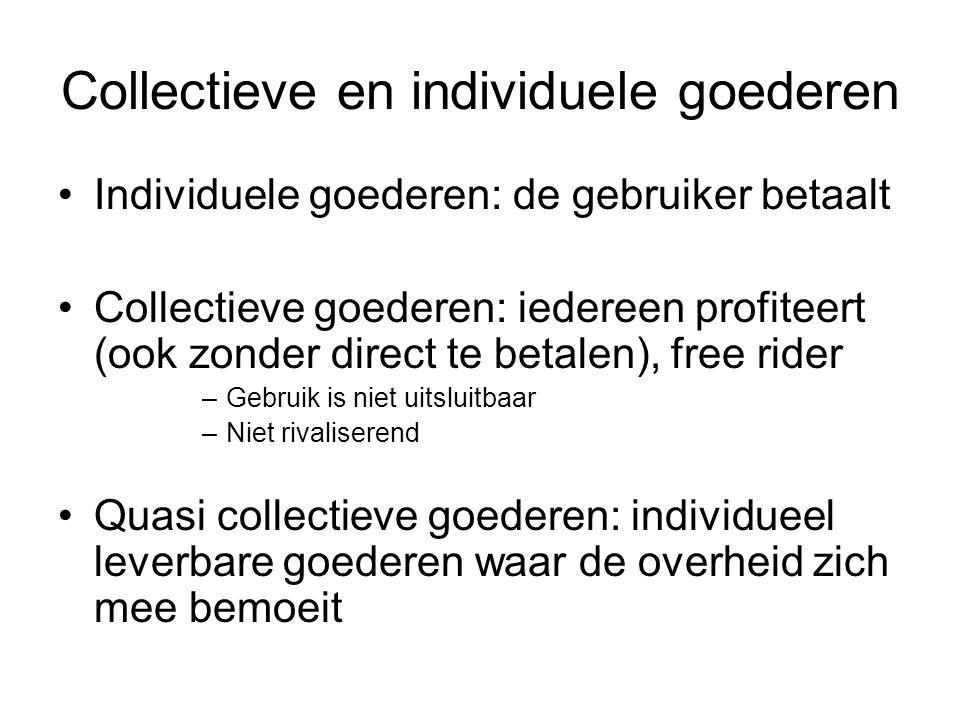 Collectieve en individuele goederen Individuele goederen: de gebruiker betaalt Collectieve goederen: iedereen profiteert (ook zonder direct te betalen), free rider –Gebruik is niet uitsluitbaar –Niet rivaliserend Quasi collectieve goederen: individueel leverbare goederen waar de overheid zich mee bemoeit