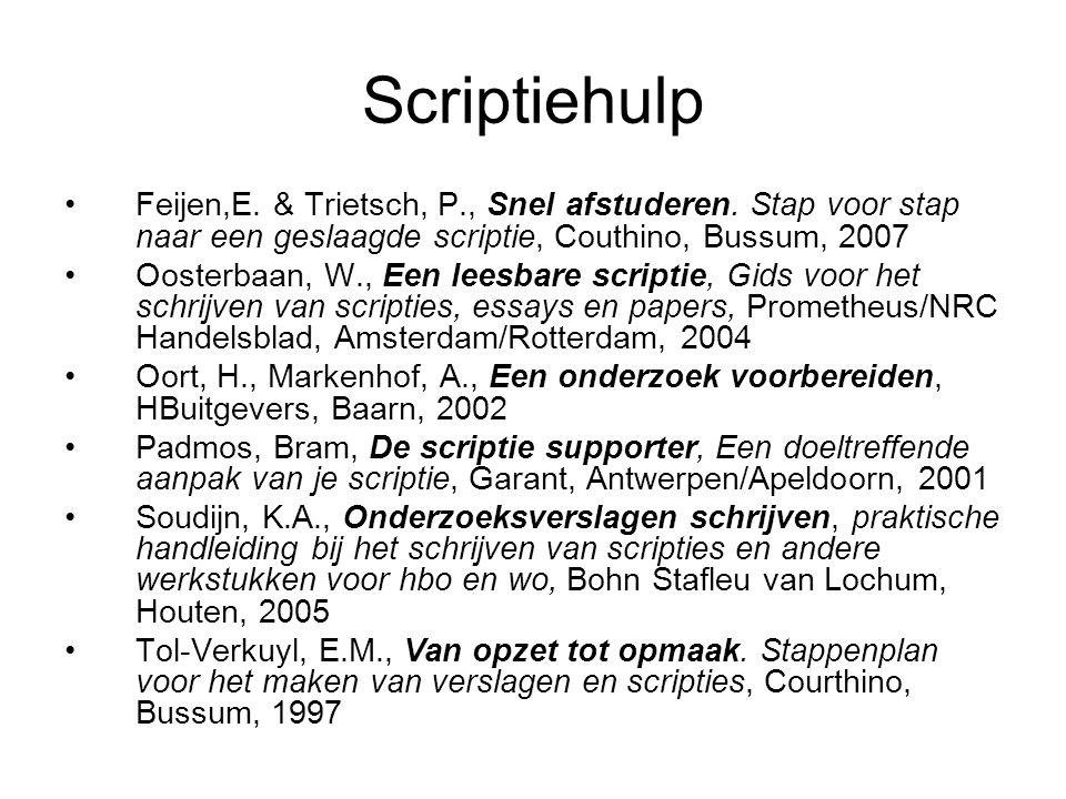 Scriptiehulp Feijen,E. & Trietsch, P., Snel afstuderen. Stap voor stap naar een geslaagde scriptie, Couthino, Bussum, 2007 Oosterbaan, W., Een leesbar