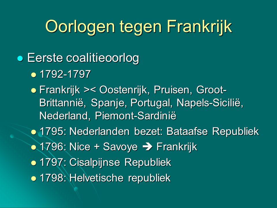 Oorlogen tegen Frankrijk Eerste coalitieoorlog Eerste coalitieoorlog 1792-1797 1792-1797 Frankrijk > < Oostenrijk, Pruisen, Groot- Brittannië, Spanje,