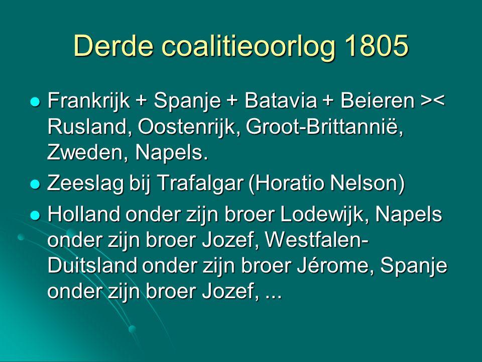 Derde coalitieoorlog 1805 Frankrijk + Spanje + Batavia + Beieren > < Rusland, Oostenrijk, Groot-Brittannië, Zweden, Napels. Zeeslag bij Trafalgar (Hor