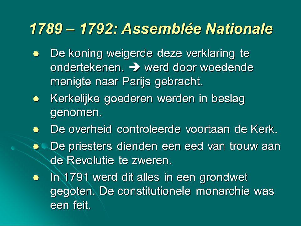1789 – 1792: Assemblée Nationale De koning weigerde deze verklaring te ondertekenen.  werd door woedende menigte naar Parijs gebracht. De koning weig
