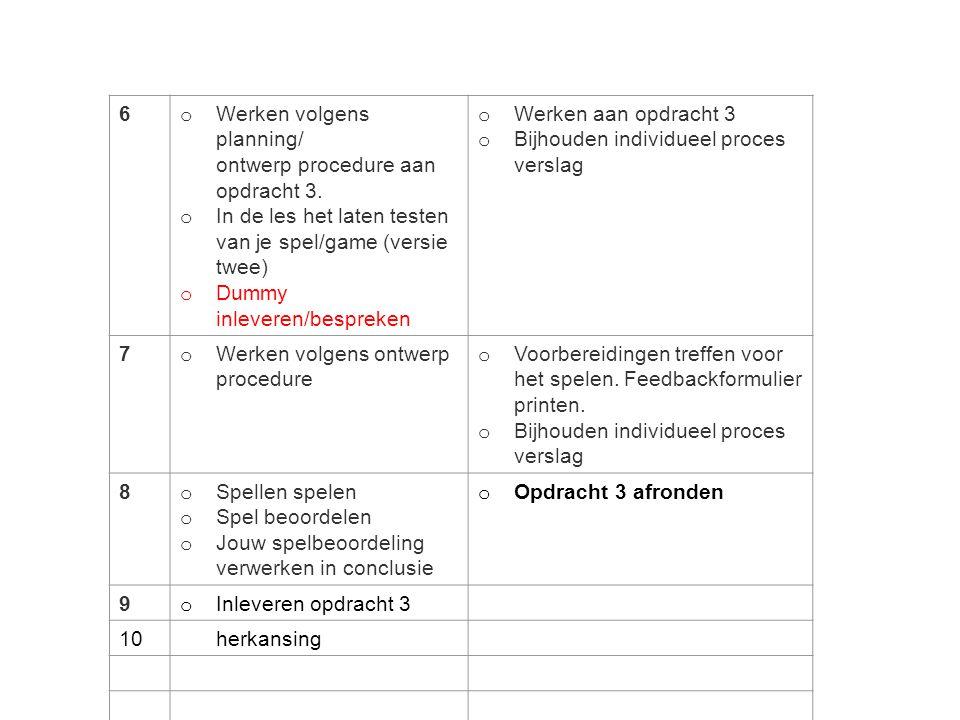 Les 5 Voortgang opdracht 3: -Ontwerpprocedure -Planning -Spelregels -Naam spel (zie opgegeven naam) -Lokatie OR -Vormgeving spel en verpakking -Spelregels testen > feedback noteren