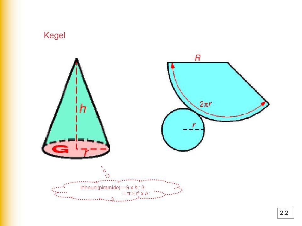Cilinder cilinder = prisma !! ook een cilinder heeft 2 vlakken die even groot en evenwijdig lopen I(cilinder) = G × h G = cirkel G = π × r² I(cilinder