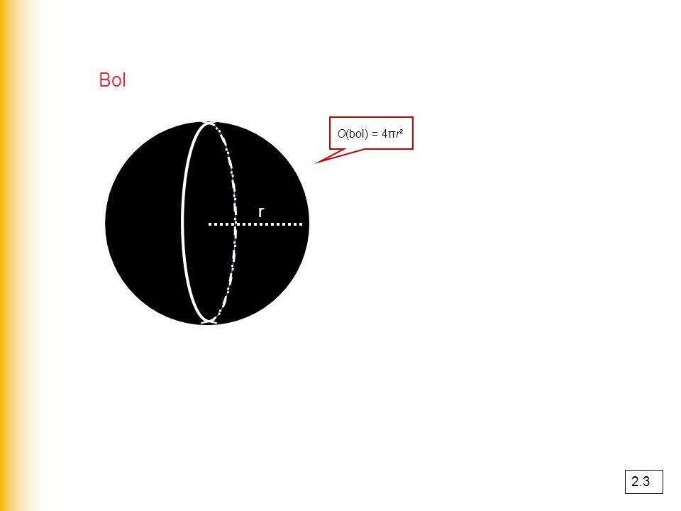 Kegel O kegel = O kegelmantel + O grondvlak O kegel = πrR + πr² 2.3