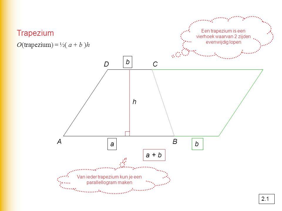 Cirkel 12 Waar kan de geit niet komen? In het rode gebied dus O(rechth) – O(cirkel) = O(rood) O(rechth) = 20 × 12 = 240 m² O(cirkel) = π × 4² = 50,27