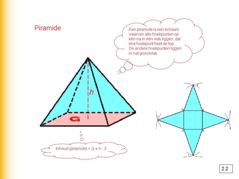 Een prisma is een ruimtelijk figuur waarvan 2 vlakken evenwijdig lopen EN even groot zijn. Prisma Grondvlak kan van alles zijn. Inhoud (prisma) = G x
