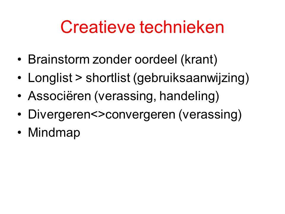 Creatieve technieken Brainstorm zonder oordeel (krant) Longlist > shortlist (gebruiksaanwijzing) Associëren (verassing, handeling) Divergeren<>converg