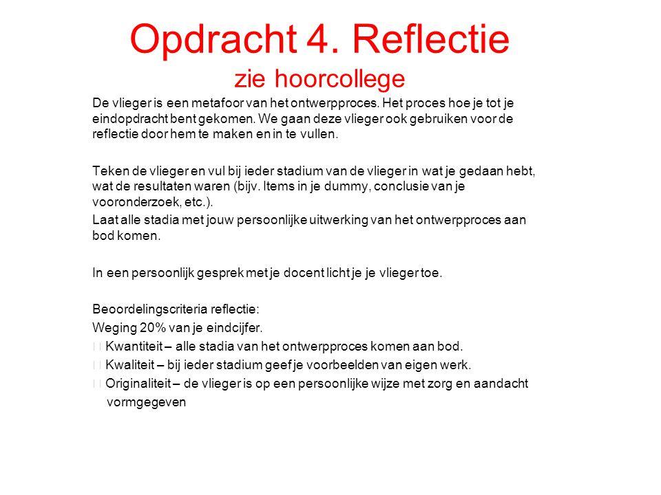 Opdracht 4. Reflectie zie hoorcollege De vlieger is een metafoor van het ontwerpproces. Het proces hoe je tot je eindopdracht bent gekomen. We gaan de