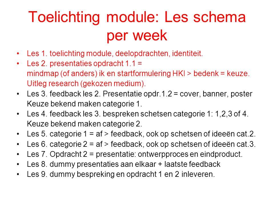 Toelichting module: Les schema per week Les 1. toelichting module, deelopdrachten, identiteit.