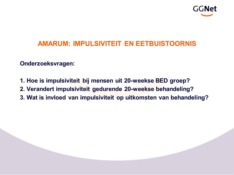 Onderzoeksvragen: 1. Hoe is impulsiviteit bij mensen uit 20-weekse BED groep? 2. Verandert impulsiviteit gedurende 20-weekse behandeling? 3. Wat is in