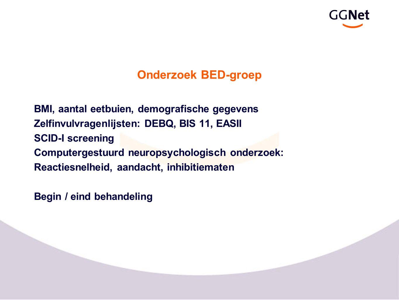 Onderzoek BED-groep BMI, aantal eetbuien, demografische gegevens Zelfinvulvragenlijsten: DEBQ, BIS 11, EASII SCID-I screening Computergestuurd neurops