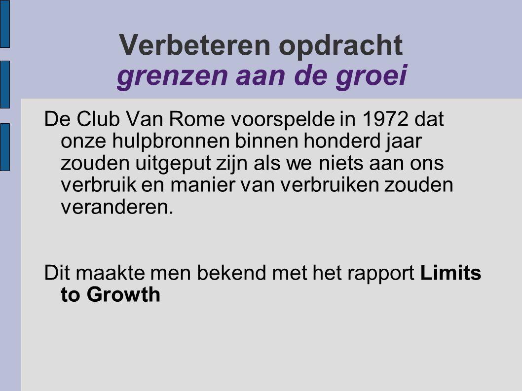 Verbeteren opdracht grenzen aan de groei De Club Van Rome voorspelde in 1972 dat onze hulpbronnen binnen honderd jaar zouden uitgeput zijn als we niet