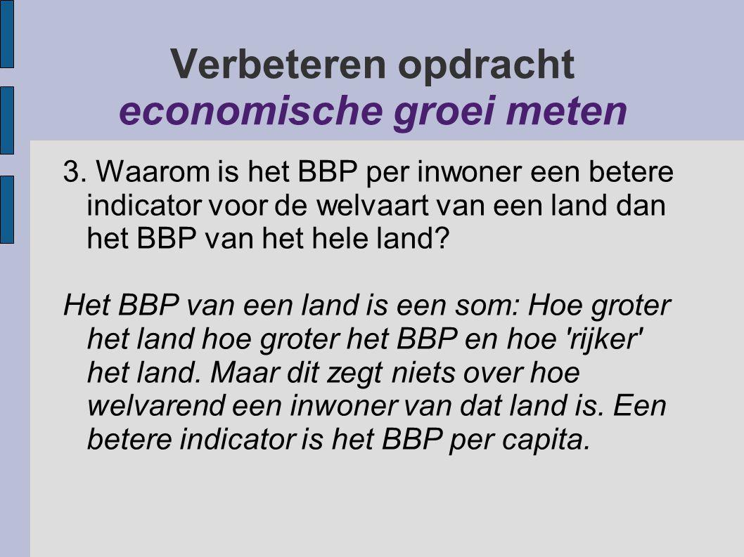 Verbeteren opdracht welvaart meten Vraag 3 bis: Is het BBP per inwoner dan ook een goede indicator om de welvaart van alle mensen van een land te meten.