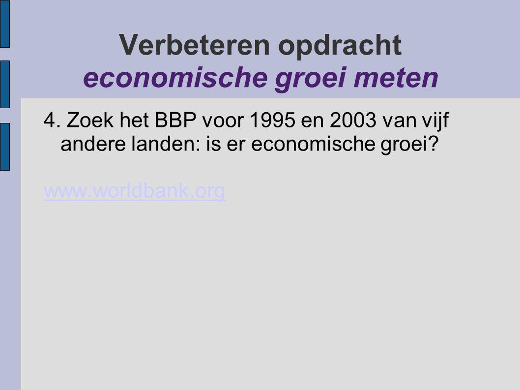Verbeteren opdracht economische groei meten 4. Zoek het BBP voor 1995 en 2003 van vijf andere landen: is er economische groei? www.worldbank.org