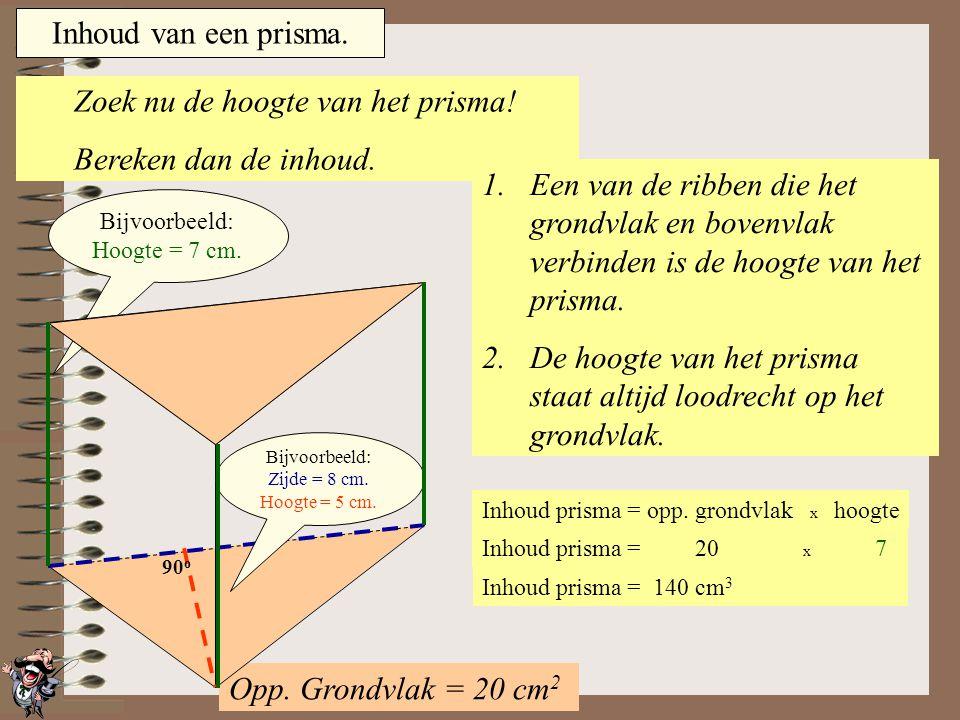 Inhoud van een prisma. Bereken dus eerst de oppervlakte van het grondvlak. 1.Bij dit prisma is het grondvlak een driehoek. 2.Zoek in deze driehoek een