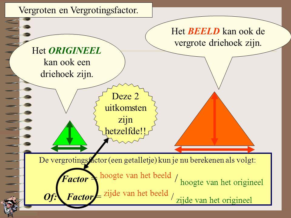 Vergroten en Vergrotingsfactor. Het ORIGINEEL kan ook een rechthoek zijn. Het BEELD kan ook de vergrote rechthoek zijn. De vergrotingsfactor (een geta
