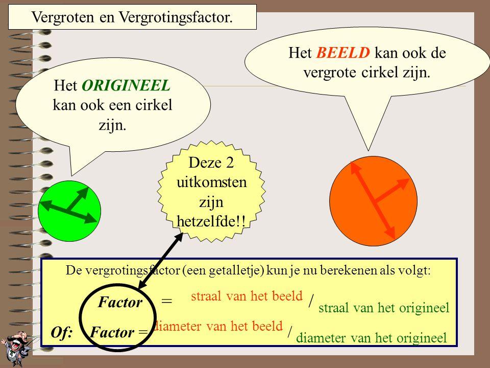 Vergroten en Vergrotingsfactor. Het ORIGINEEL kan ook een driehoek zijn. Het BEELD kan ook de vergrote driehoek zijn. De vergrotingsfactor (een getall