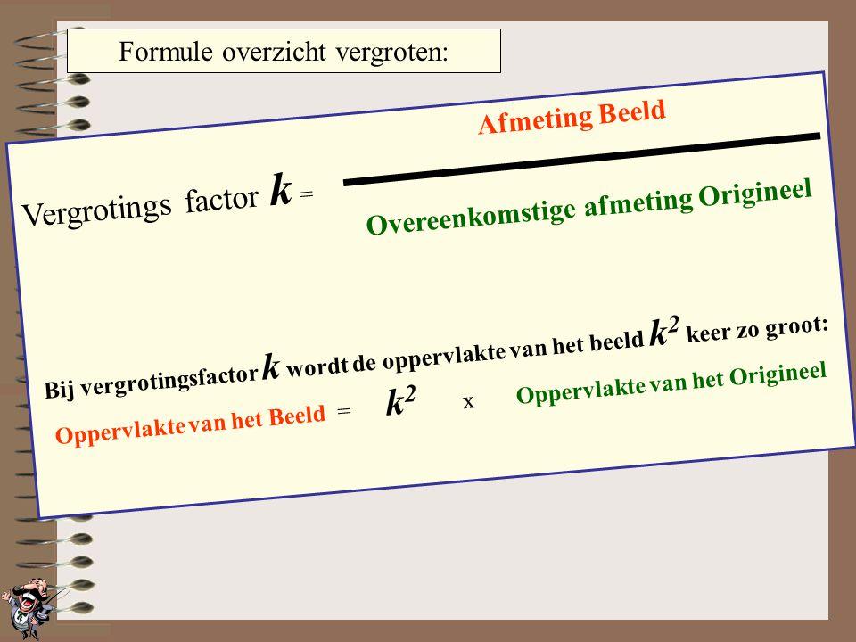 Vergroten en Oppervlakte OrigineelBeeld Vergroten met factor 2 Vergroten met factor 3 Vergroten met factor 4 …dan wordt de oppervlakte 4 keer zo groot