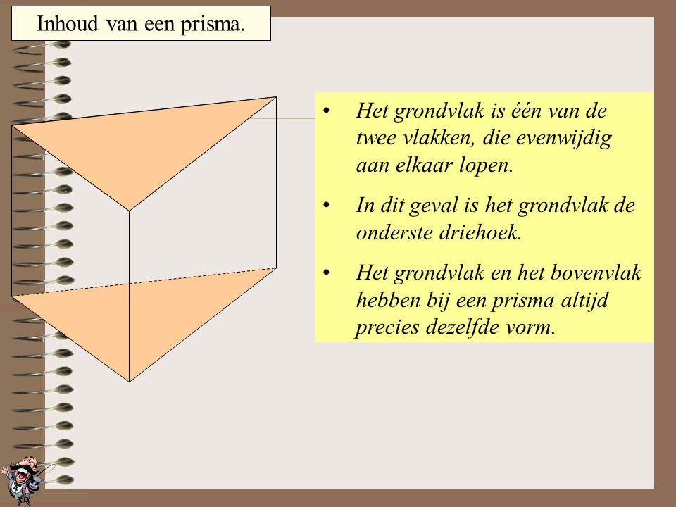Inhoud van een prisma. Er bestaan veel soorten prisma's: Bij dit prisma heeft het grondvlak de vorm van een driehoek. Bij deze 2 prisma's heeft het gr
