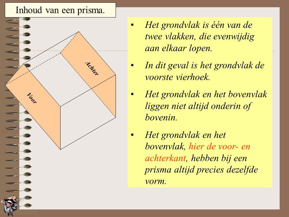 Inhoud van een prisma. Het grondvlak is één van de twee vlakken, die evenwijdig aan elkaar lopen. In dit geval is het grondvlak de onderste driehoek.