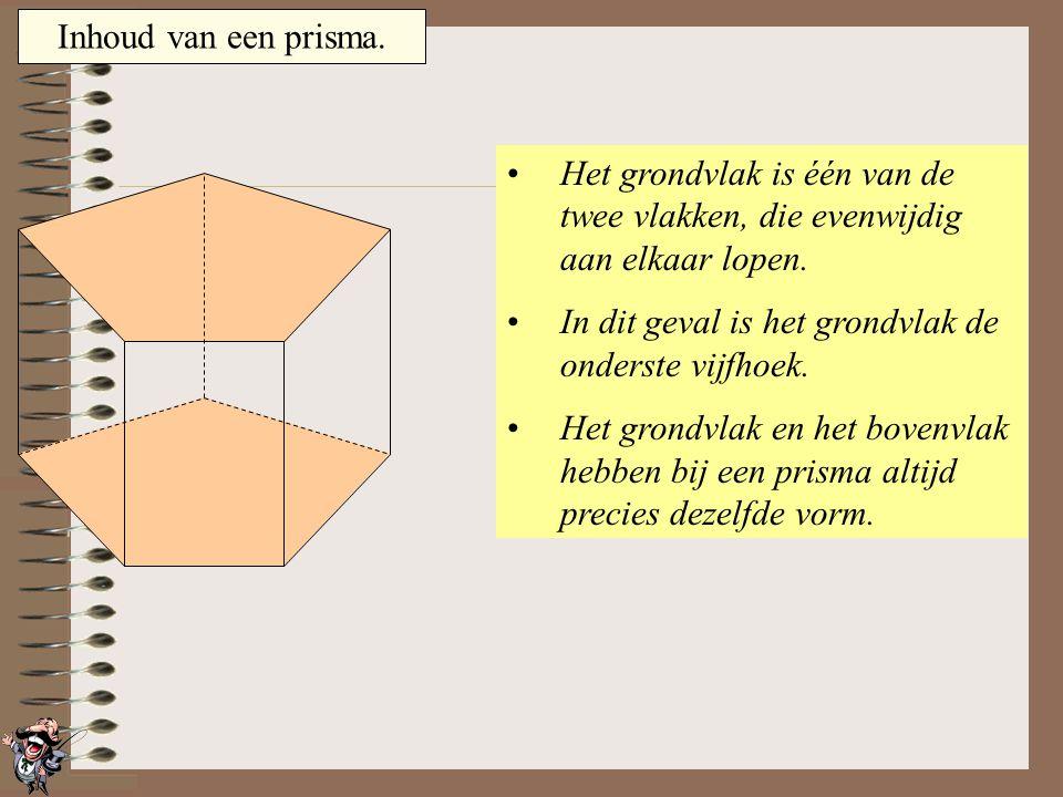Inhoud van een prisma. Het grondvlak is één van de twee vlakken, die evenwijdig aan elkaar lopen. In dit geval is het grondvlak de voorste vierhoek. H