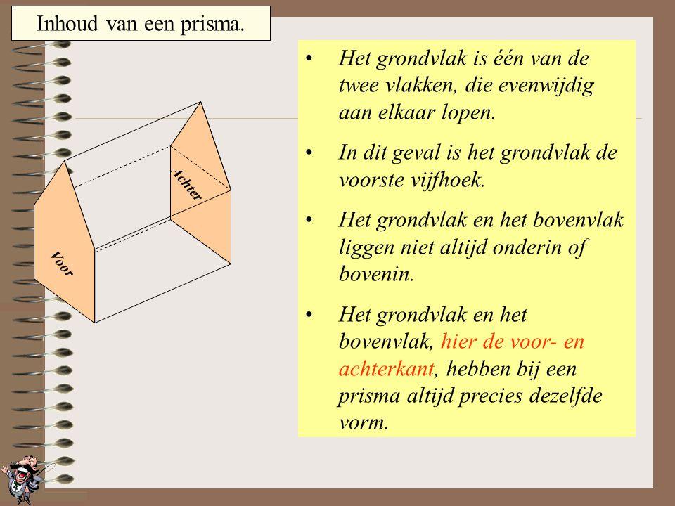 Inhoud van een prisma. Het grondvlak is één van de twee vlakken, die evenwijdig aan elkaar lopen. In dit geval is het grondvlak de onderste vijfhoek.