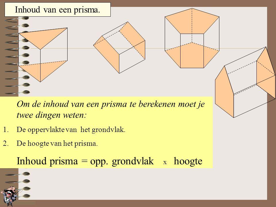 Inhoud van een prisma. Het grondvlak is één van de twee vlakken, die evenwijdig aan elkaar lopen. In dit geval is het grondvlak de voorste vijfhoek. H