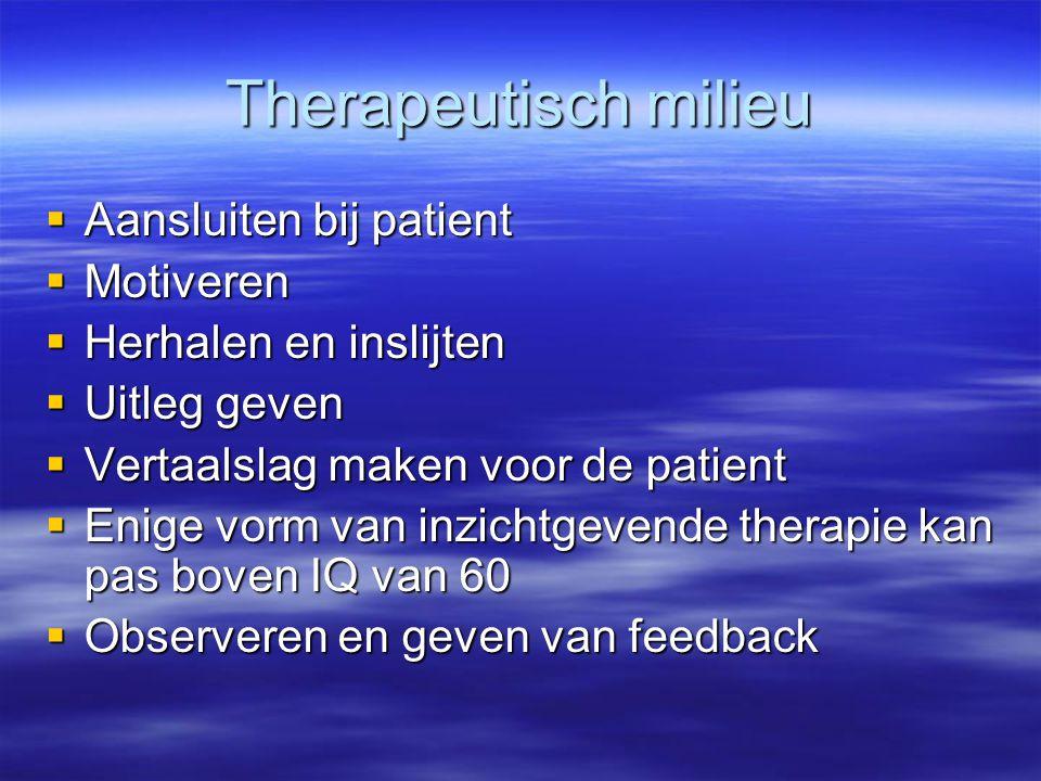Therapeutisch milieu  Aansluiten bij patient  Motiveren  Herhalen en inslijten  Uitleg geven  Vertaalslag maken voor de patient  Enige vorm van