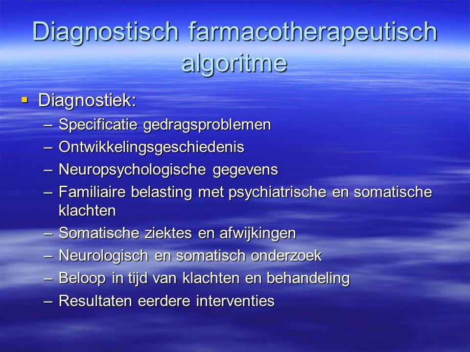 Diagnostisch farmacotherapeutisch algoritme  Diagnostiek: –Specificatie gedragsproblemen –Ontwikkelingsgeschiedenis –Neuropsychologische gegevens –Fa