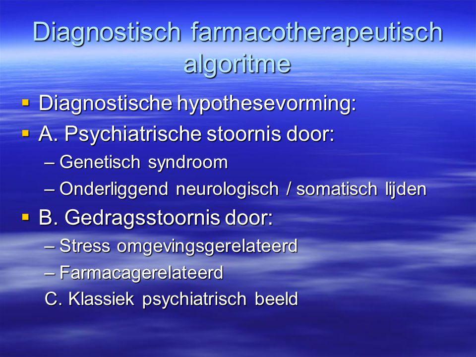 Diagnostisch farmacotherapeutisch algoritme  Diagnostische hypothesevorming:  A. Psychiatrische stoornis door: –Genetisch syndroom –Onderliggend neu