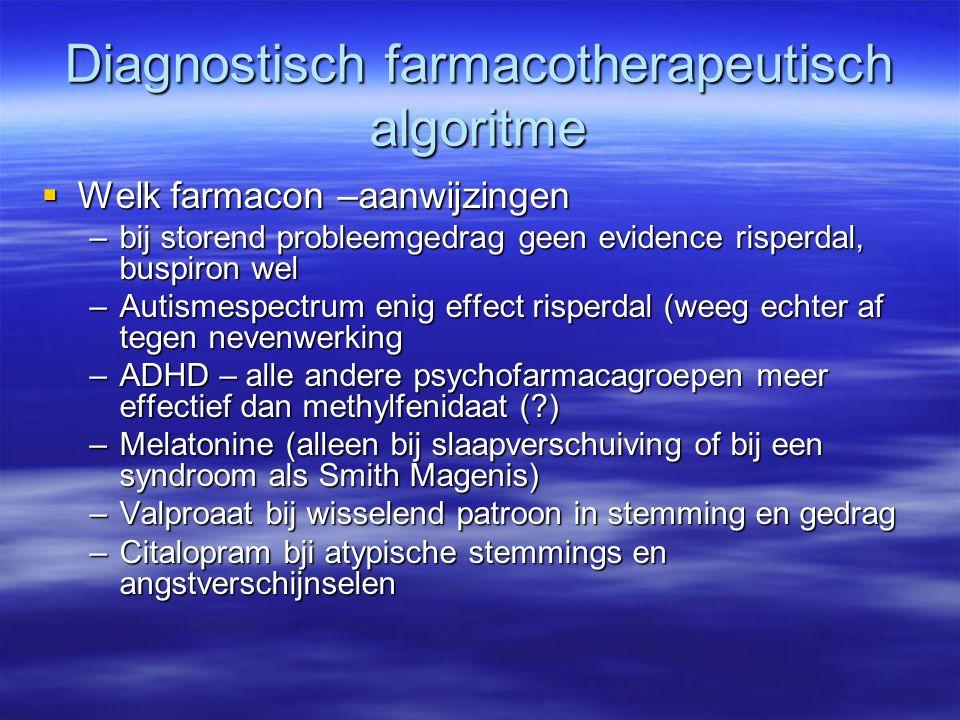 Diagnostisch farmacotherapeutisch algoritme  Welk farmacon –aanwijzingen –bij storend probleemgedrag geen evidence risperdal, buspiron wel –Autismesp