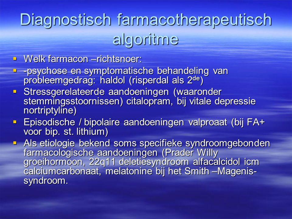 Diagnostisch farmacotherapeutisch algoritme  Welk farmacon –richtsnoer:  -psychose en symptomatische behandeling van probleemgedrag: haldol (risperd