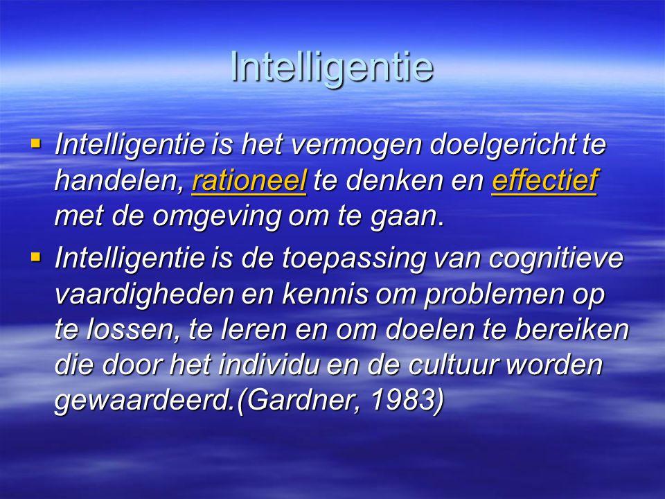Intelligentie  Intelligentie is het vermogen doelgericht te handelen, rationeel te denken en effectief met de omgeving om te gaan. rationeeleffectief