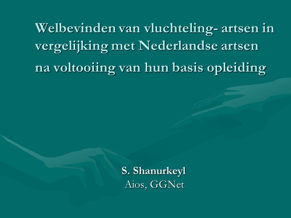 Welbevinden van vluchteling- artsen in vergelijking met Nederlandse artsen na voltooiing van hun basis opleiding S. Shanurkeyl Aios, GGNet