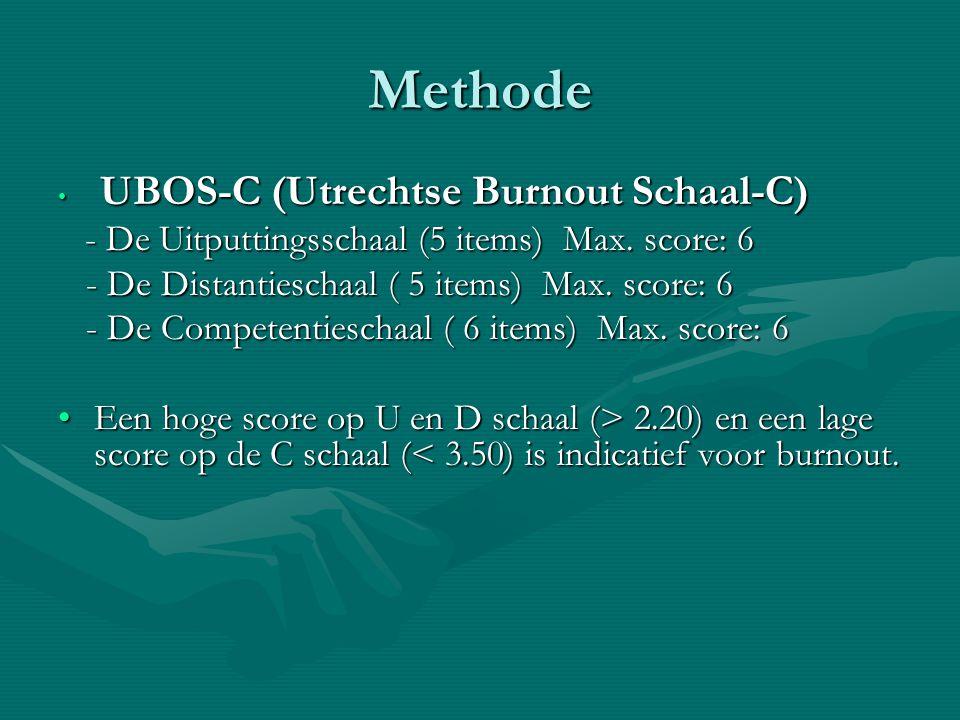 Methode UBOS-C (Utrechtse Burnout Schaal-C) UBOS-C (Utrechtse Burnout Schaal-C) - De Uitputtingsschaal (5 items) Max. score: 6 - De Uitputtingsschaal