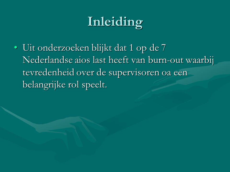 Inleiding Uit onderzoeken blijkt dat 1 op de 7 Nederlandse aios last heeft van burn-out waarbij tevredenheid over de supervisoren oa een belangrijke r