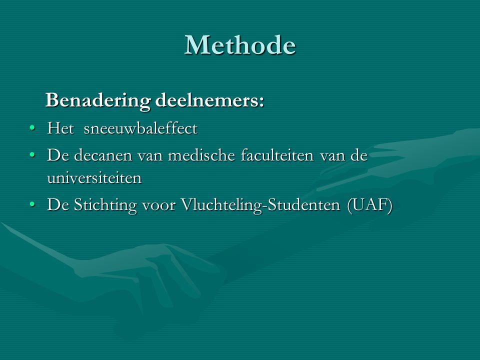 Methode Benadering deelnemers: Benadering deelnemers: Het sneeuwbaleffectHet sneeuwbaleffect De decanen van medische faculteiten van de universiteiten