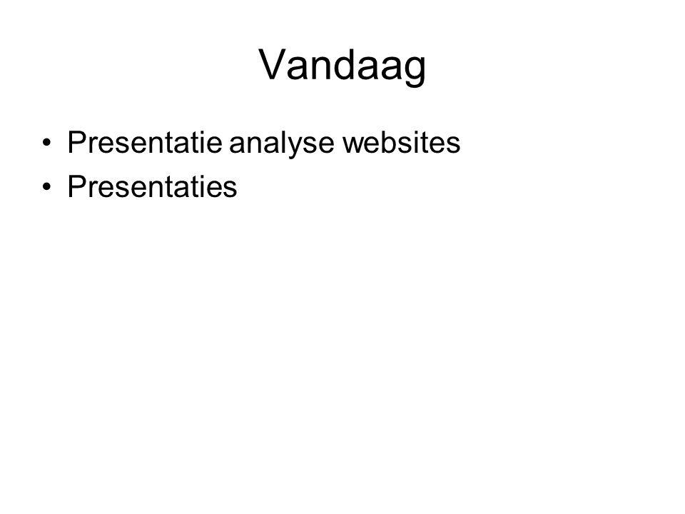 Vandaag Presentatie analyse websites Presentaties