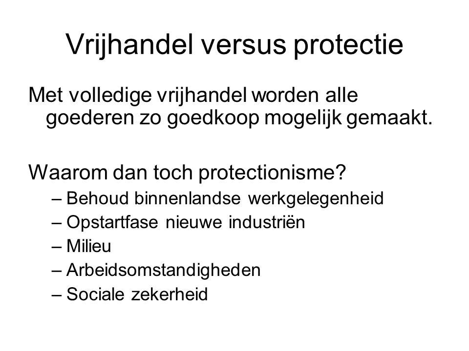 Vrijhandel versus protectie Met volledige vrijhandel worden alle goederen zo goedkoop mogelijk gemaakt. Waarom dan toch protectionisme? –Behoud binnen