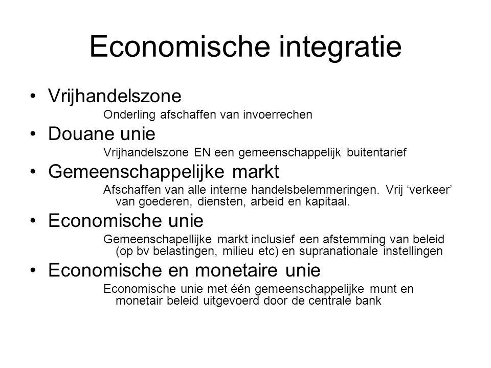 Economische integratie Vrijhandelszone Onderling afschaffen van invoerrechen Douane unie Vrijhandelszone EN een gemeenschappelijk buitentarief Gemeenschappelijke markt Afschaffen van alle interne handelsbelemmeringen.