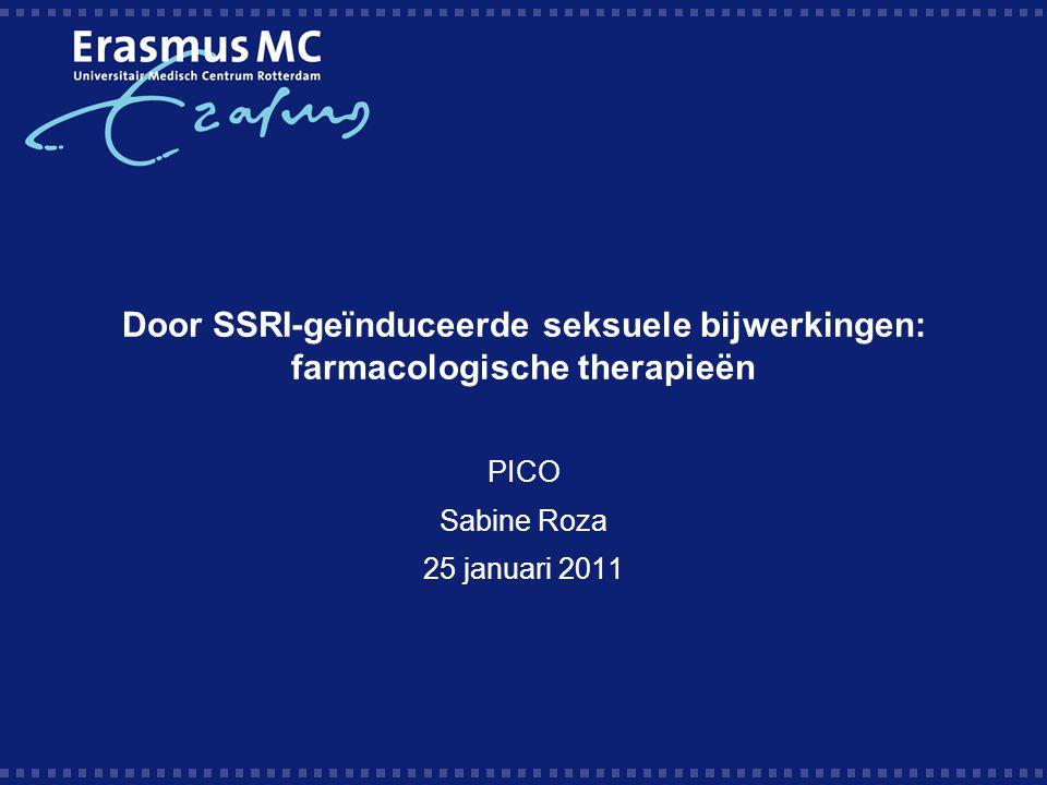 Aanleiding en PICO Man, medio veertig, met in 2007 depressieve episode goed reagerend op 375 mg venlafaxine kreeg in het UMCU mirtazapine-additie (45 mg) i.v.m.