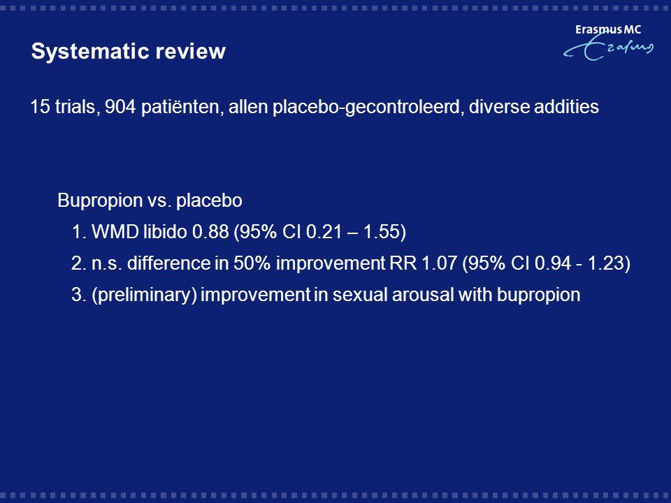Systematic review 15 trials, 904 patiënten, allen placebo-gecontroleerd, diverse addities  Bupropion vs. placebo 1. WMD libido 0.88 (95% CI 0.21 – 1.