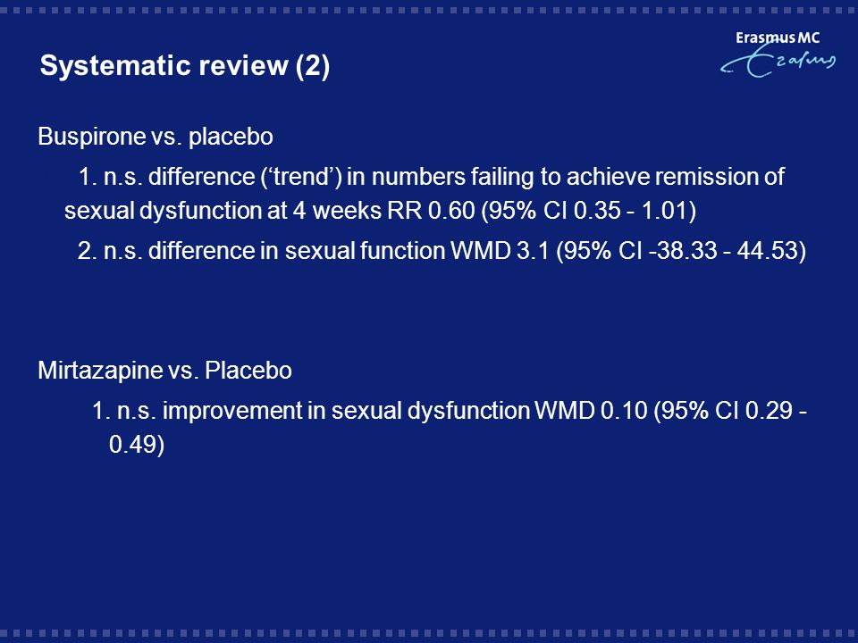 Systematic review (2) Buspirone vs.placebo  1. n.s.