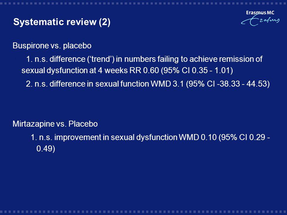 Systematic review (3) Conclusies: * enig bewijs dat mannen met erectiele dysfunctie voordeel hebben van additie sildenafil (Viagra); n=211 * enig bewijs dat tadalafil (soortgelijk aan Viagra) enig voordeel biedt * beperkt bewijs voor voordeel bupropion en buspiron boven placebo (inconsistente resultaten van trials) * geen significant voordeel (of nadeel) van additie van olanzapine, mirtazapine, yohimbine, granisetron, amantadine, G.